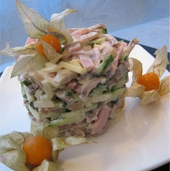 Рецепты салата шампиньонами и языком
