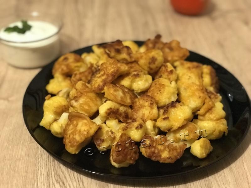 Цветная капуста в кляре на сковороде с хрустящей корочкой — пошаговый рецепт
